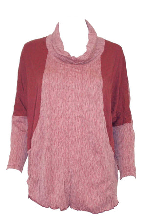 textured and plain skivvy neck long sleeve boxy shape top in Pink
