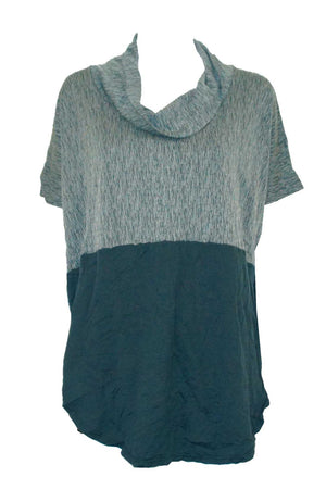 Spliced textured and plain top with skivvy neck and extended shoulders