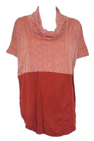 textured and plain spliced top with skivvy neck and extended shoulders in Orange