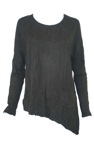 Bark Asymmetric Top w/ Button Detail Black