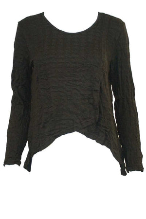 square cross over top with long sleeves in Black