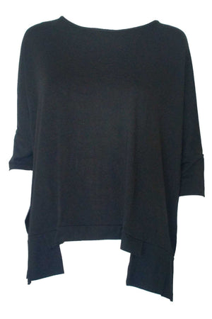 Bamboo Cotton Boxy Top in Black