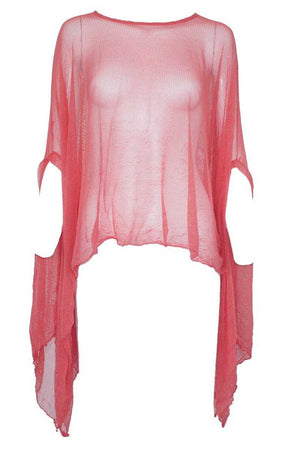 open mesh poncho in Red