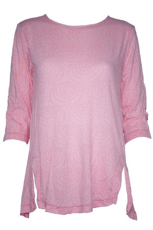 sauced 3/4 sleeve top with splits in Pink