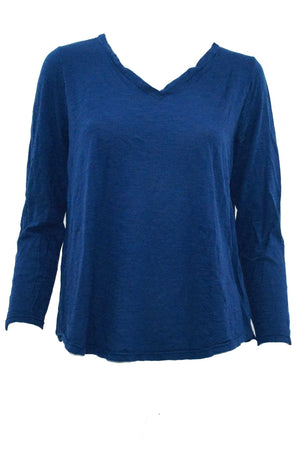 V-neck top wool blend long sleeve top in Navy