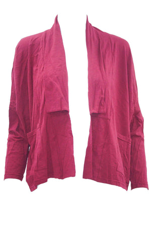 Short boxy cardigan in Pink with long sleeves and pockets