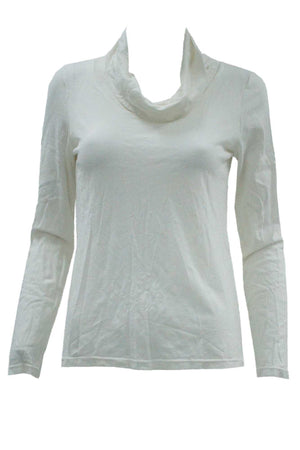 white skivvy neck long sleeve wool blend top