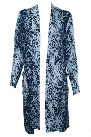 Animal print weekend cardi black and white knee length cardigan with pockets