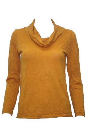 yellow skivvy neck long sleeve wool blend top