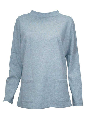 Light grey jumper with stand neck and pockets