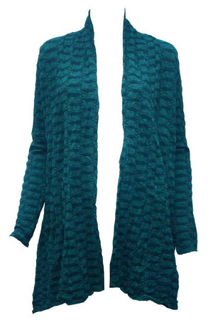 Green jacquard wool blend cardigan