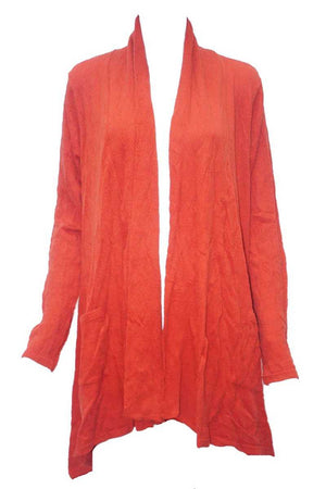 orange wool blend stretch fabric cardigan with pockets