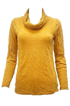 yellow wool blend skivvy neck jacquard top