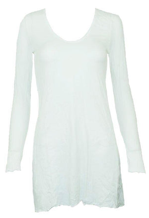 long sleeve A-line tunic in White