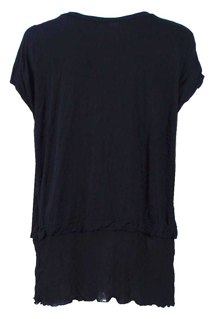 COTTON TEE WITH MESH HEM