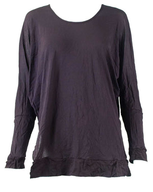 Mesh Dolman Sleeve Split Hem Top