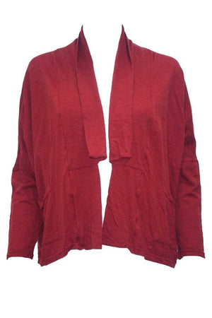 Wool blend Red short boxy cardigan with long sleeves and pockets
