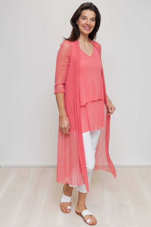 open mesh long cardi in Pink