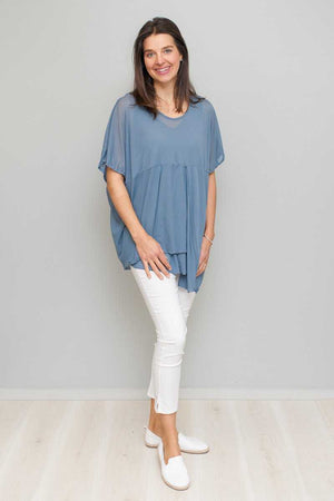 Boxy Cross Over Mesh Top