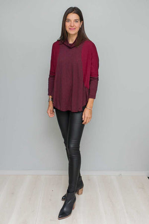 textured and plain skivvy neck long sleeve boxy shape top in Pink over Black pants