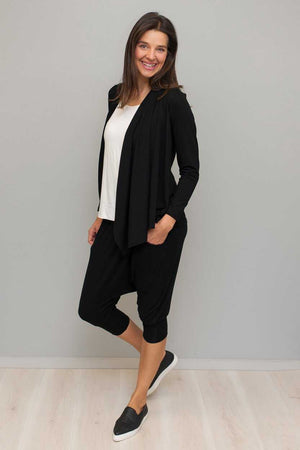 Black waterfall cardigan White tank and Black pants