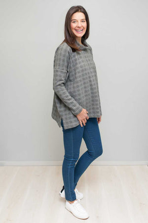 Skivvy neck boxy jumper in Grey check over Blue jeans
