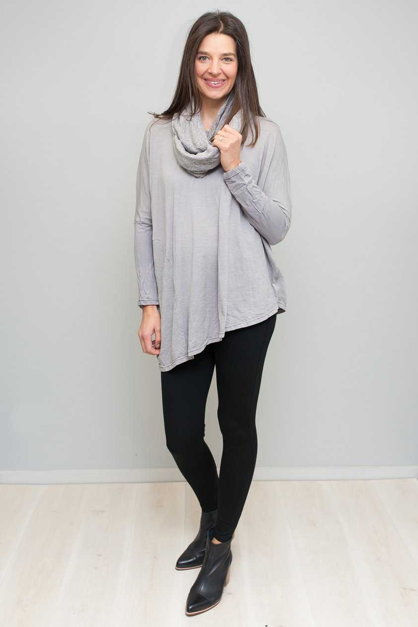Asymmetric Wool/Nylon Angle Top