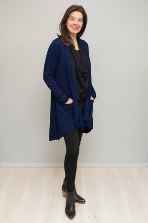 dark blue stretch fabric cardigan with pockets