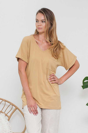 Bamboo Cotton V-neck Tunic Yellow
