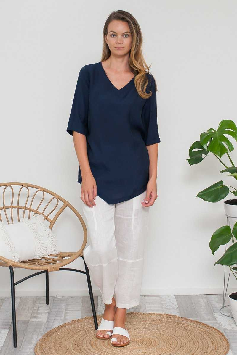 V-neck asymmetric top with elbow sleeves