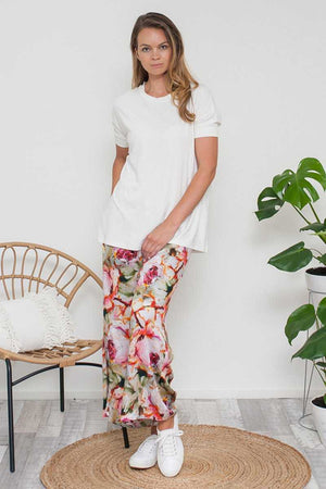 Bamboo Cotton Long Top in White over Floral wide leg pants