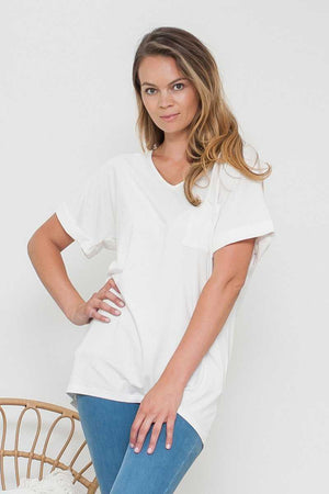 Bamboo Cotton V-neck Tunic White