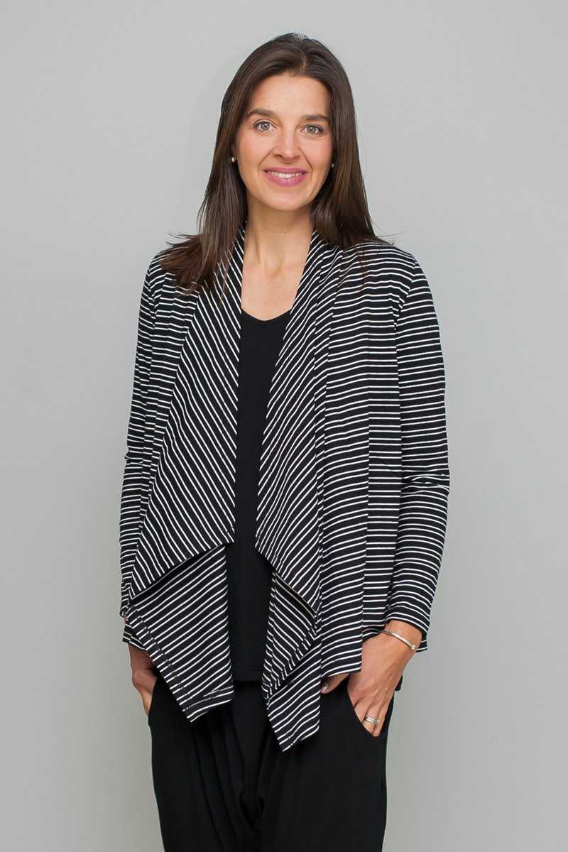 Organic Cotton Stripe Waterfall Cardi