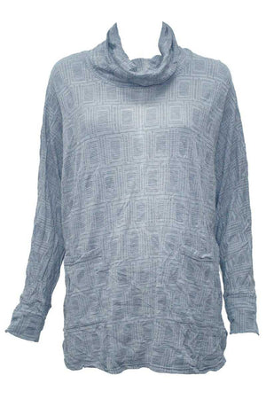 squares skivvy long sleeve top in Grey