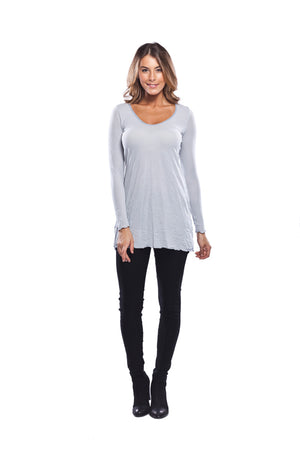 long sleeve A-line tunic in Light grey