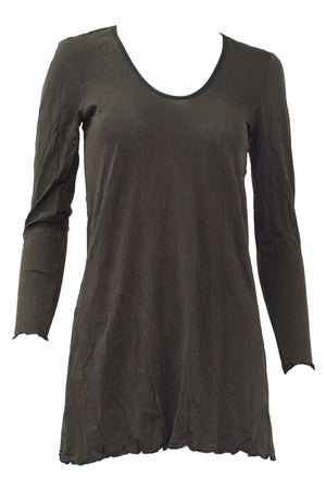 long sleeve A-line tunic in Brown