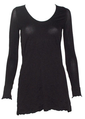 long sleeve A-line tunic in Black