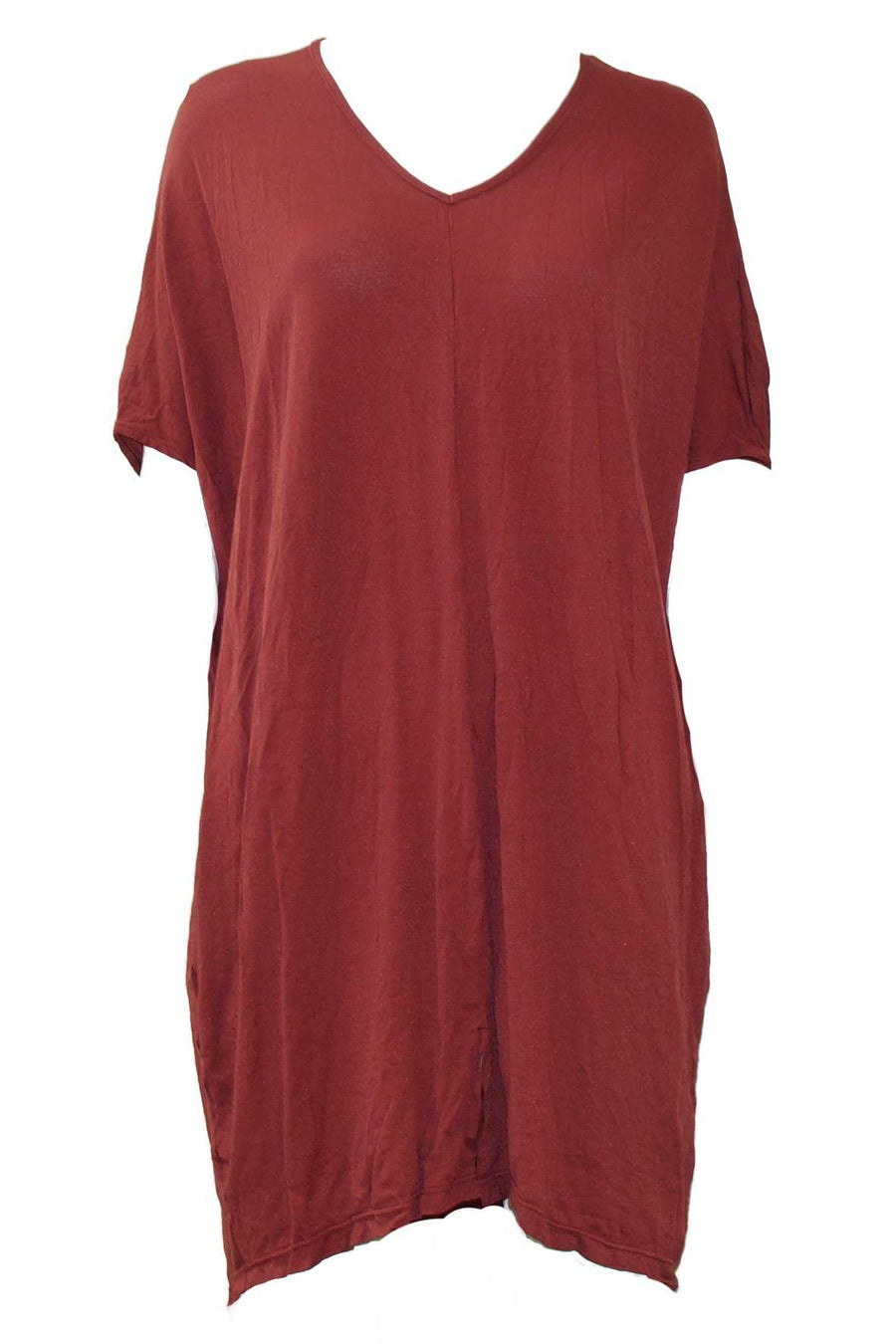 V NECK TUNIC W FRONT SPLIT