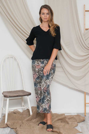 Bamboo Cotton V-neck Top Black over animal print pants