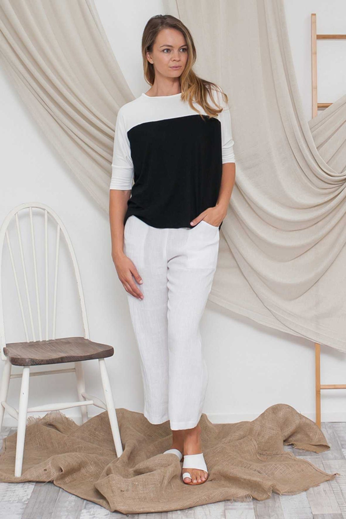 Bamboo Cotton Dolman Sleeve Top Black and White