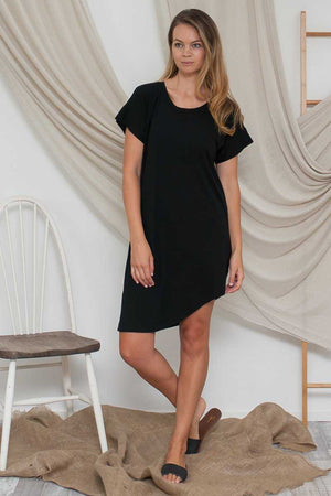 Bamboo Cotton Asymmetric Dress in Black