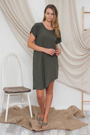 Bamboo Cotton Asymmetric Dress in Khaki