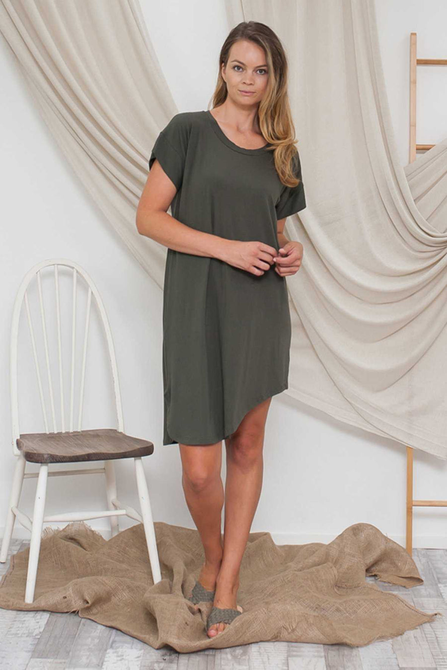 BAMBOO COTTON ASYMMETRIC DRESS