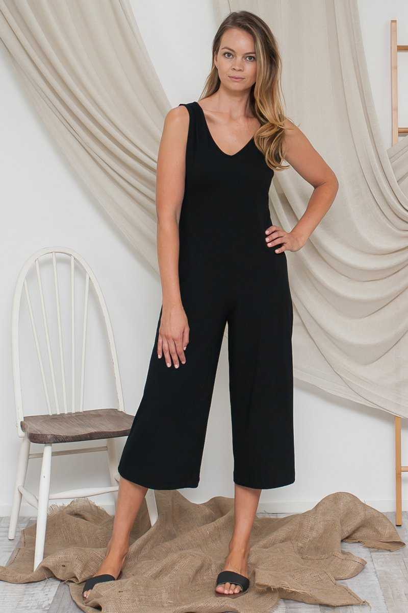 Bamboo Cotton V-neck Jumpsuit