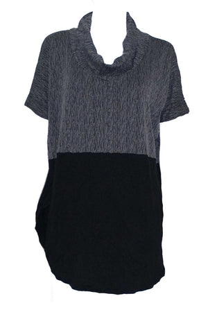 textured and plain skivvy neck extended shoulder top in Black
