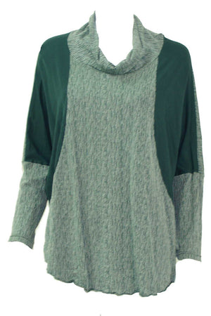 textured and plain skivvy neck long sleeve boxy shape top in Green