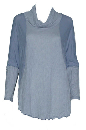 textured and plain skivvy neck long sleeve boxy shape top in Grey