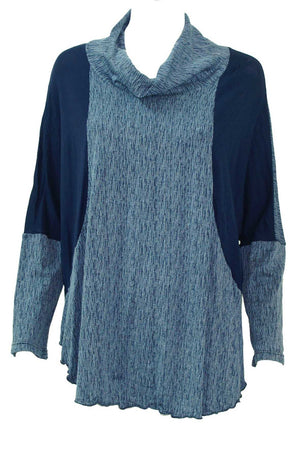 textured and plain skivvy neck long sleeve boxy shape top in Navy