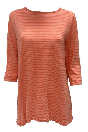 3/4 SLV NARROW STRIPE TOP
