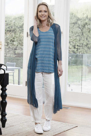 open mesh long cardi in Blue over stripe Blue tank and White linen pants